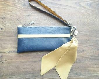 Navy blue mustard vegan faux leather small clutch purse wristlet bag