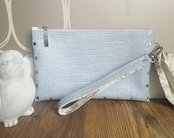 Light baby blue floral vegan faux crocodile leather medium clutch zip purse wristlet bag tablet,iPad,Kindle case