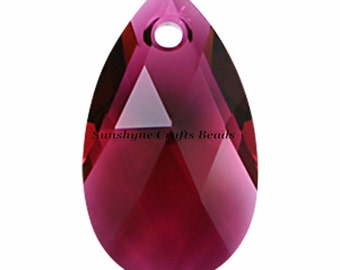 Swarovski Crystal Beads 6106 RUBY Color Pear Shaped Pendant 1 Pc - 16mm & 22mm Available