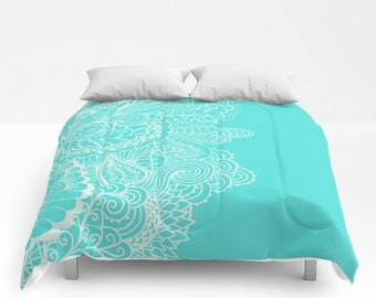 Comforter Turquoise Mehndi Paisley Henna Design Full Blue Green Queen King Bedspread Bedding Dorm Room Home Apartment Bed Decor