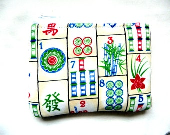 New! Coin purse made from Mahjong fabric