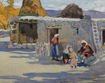 Sale 50%! VINTAGE CONVERSATION PIECE, Old Original Oil Painting by Baroyants M. 1967, Genre scene, Soviet Armenia Fine Art, Rural Landscape