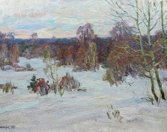 WINTER FOREST LANDSCAPE, Vintage Original Oil Paintinhg by Soviet Ukrainian artist M.Borymchuk 1991, Woodland scenery, Snow painting, Nature