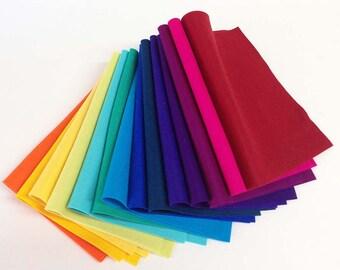 "Fourteen Pack 8"" x 12"" Sheets Rainbow Colors Merino Wool Felt"