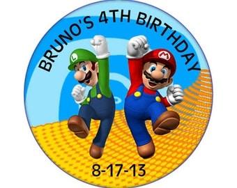 Super Mario Bros round sticker birthday party - Printable
