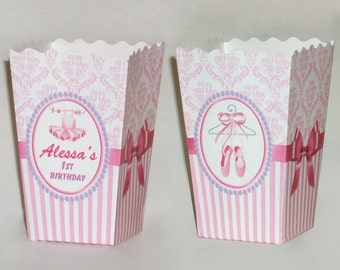 Ballerina / ballet Personalized Popcorn favor Boxes (Set of 10)