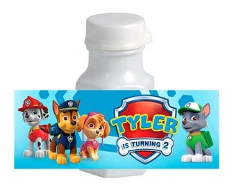 30 Paw Patrol Birthday Mini Bubble labels