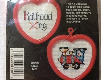 """New Kit of 2 Small Counted Cross Stitch Train Crossing 2"""" x 2"""" each by NeedleMagic Inc."""