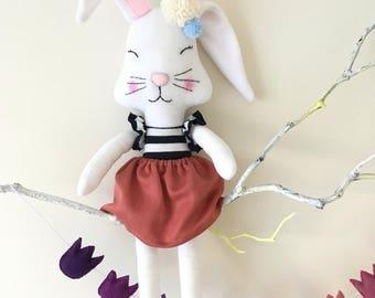 Easter bunny rag doll, handmade fabric doll