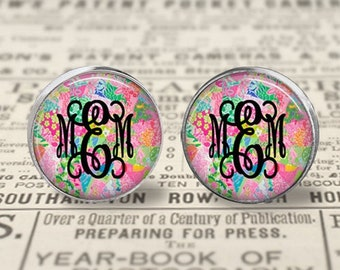 Lilly Pulitzer Inspired Monogrammed Glass Stud Earrings, Monogram Earrings, Initial Earrings, Personalized Jewelry, Handmade Earrings, Lilly