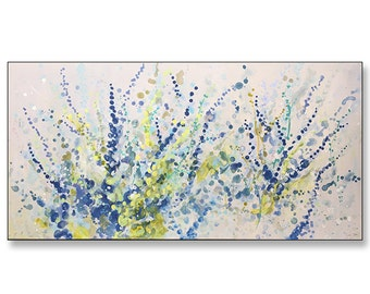 """FREE SHIPPING_Energetic Blooms_36x18"""" Original Painting on Stretched Canvas"""