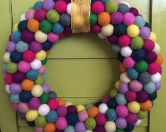 """14"""" Felt Ball Wreath"""