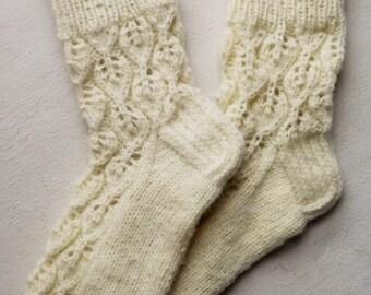 Wool socks Womens socks White socks Lace knit socks Handknit socks Mohair socks