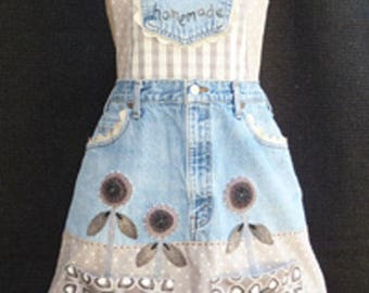 Applique Apron PATTERN - Happiness is Homemade - Recycled jean