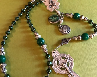 Celtic Irish Catholic Rosary Green Glass Pearls Shamrock Center Celtic Cross Crucifix