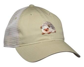 Hedgehog Baseball Cap - Khaki Trucker Hat