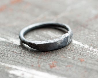 sculptural filed raw 925 silver ring, primitive organic oxidised matte black sterling silver ring
