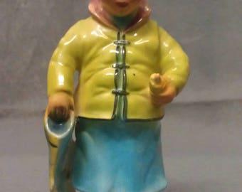 Vintage B. B. Keelee Copyrighted 601 Oriental Fisherman with Fish Figurine