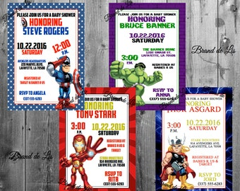 Avengers Baby Shower Invitations Marvel Super Hero Squad Captain America Hulk Iron Man Thor Birthday Party Invites with Envelopes