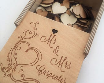 Wedding Box and message/Instructions,Wedding Guest book alternative,Heart Dropbox,Drop Top Guestbook,Wooden Wedding Frame,Good Luck Bride