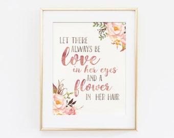 Love in Her Eyes | Floral Watercolor Art | Nursery Print | Floral Nursery Art | Baby Girl Quote | Pink Nursery Art | Nursery Printable