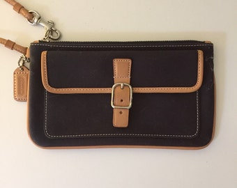 Vintage Coach Wristlet ~ navy canvas and leather