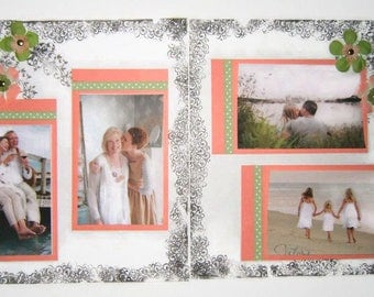 Wedding Scrapbook Pages - Premade Wedding Scrapbook layouts - 12 by 12 family pages - flowered scrapbook pages - family scrapbook layouts