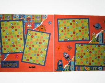 Monster Space Alien scrapbook pages - Premade boy scrapbook pages - Premade girl scrapbook layouts - Monster birthday pages - Alien Pages