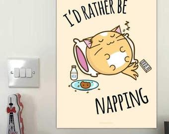 Tenía galletas más bien ser siesta impresión Fuzzballs pared arte divertido dormir gato dormitorio ilustración oficial Kawaii Cute regalo Idea presente para su