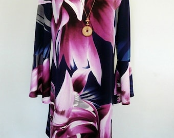 Lilac Tiger Lily A-Line Jersey Dress, Short Floral Dress, Ladies' Short Swing Dress, Plus Size Dress – Made to Order.