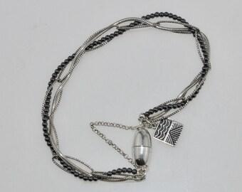 Hematite & silver bracelet, sterling silver bracelet, hematite bracelet, silver twist bracelet, black and silver bracelet, black bracelet