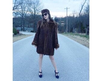 1960's mink fur coat and hat