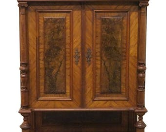 "Antique Burl Walnut and Mahogany 39"" Court Cupboard"