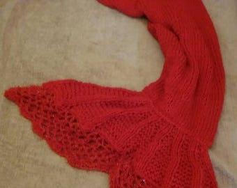 Red Sunset Mermaid Tail Blanket Handmade