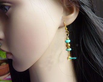 Wooden beads and gold Earring