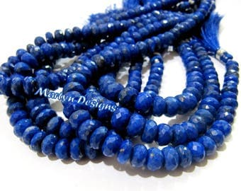 Best Quality Genuine Lapis Lazuli Gemstone Beads , 5 to 10mm Size Rondelle Faceted Beads , Length 9 inches , Israel Cut Lapis Lazuli Beads