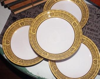 Vintage (1970s) Golden Damask 3549 soup, salad or cereal bowl. Made in Japan. Black floral scrolls, yellow band, gold rim.