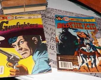 LOT of 2 Charlton Comics Billy the Kid No. 134 & Gunfighters No. 59 c. 1980 comic books | graphic novels. Printed in the USA. MINT!