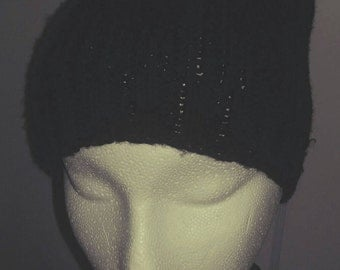 Black Knitted Slouchy LOVE Hat!