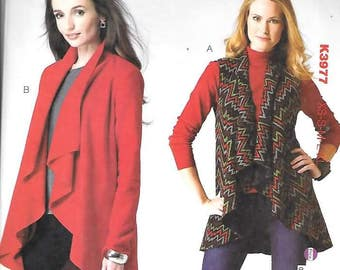 Misses Drape Front Vest, Jacket, Sizes XS Thru XL, New Kwik Sew Pattern 3977