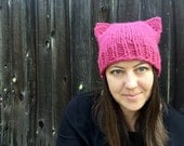 Dark Pink Cat Hat, Pussyhat Project, Womens Cat Beanie, Pink Cat Ears, Pussycat Hat, March on Washington, Adult Knit Hat, Pink Cat Beanie