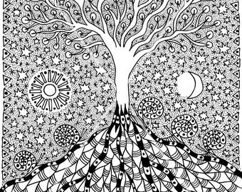 Tree of Life. Character graphics. Mystic graphics of gel pens. Fantasy - landscape