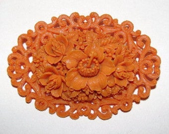 Celluloid Faux Carved Red Coral Floral Motif Pin/Brooch
