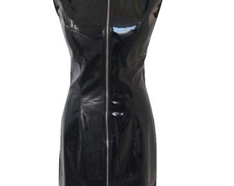 Black Rubber PVC Zip Synthetic Sleeveless Glossy Fetish Long Dress