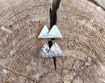 Mountain Earrings, Hand Cut, Sterling Silver, Two Mountain Earrings