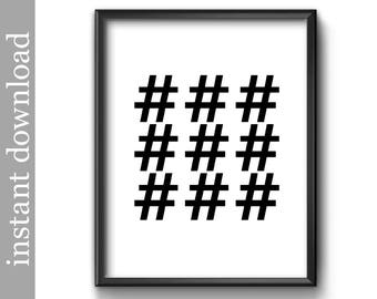 Hashtag Printable, numbers sign, hashtag download, hashtag symbol, symbols wall art, black and white art, office wall art, printable symbols