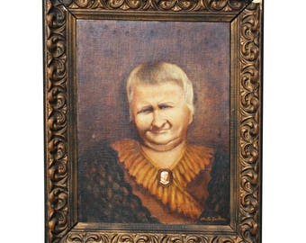 Vintage OIL on CANVAS PAINTING Portrait Woman framed victorian ugly old lady odd grandma grandmother frown dress