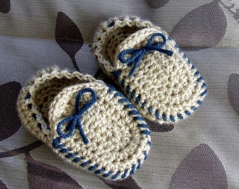 Hand Crocheted Child's Moccasin Slippers For Toddlers