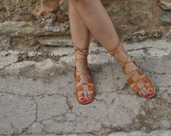 Lace up sandals, Greek handmade gladiator laceups, gladiator sandals, ankle strap sandals