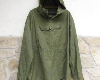 Old Military Green Canvas Anorak, Vintage Canvas Anorak, Tourist parka jacket, Fishing parka jacket, Jammer green canvas jacket for hunting